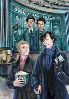 John Watson & Sherlock fanart..lol,, not sure i feel about the implied relationship here, but i love that there is a world where this could happen.