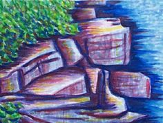 Kingston Rocks by Lake Ontario Suzanne-Berton.com Kingston, Ontario, Rocks, Painting, Art, Art Background, Painting Art, Paintings, Kunst