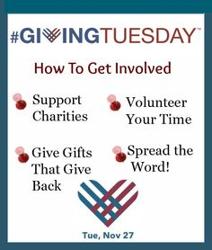 """""""Giving Tuesday"""" = a new American holiday tradition. Instead of gimme gimme, a day to give back."""