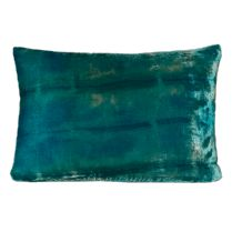 Aqua Blue Rorschach Boudoir Burnout Velvet Pillow
