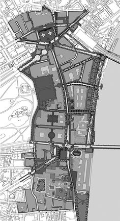 Masterplan for whole World Squares scheme with Trafalgar Square to north and interlocking green spaces around Parliament Square resembling an English cathedral close