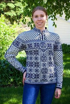 Abbie's Pauper Sweater and pattern Dale of Norway Peace inspired hand knitted sweater designed by Mom, completed 19May15. genser oppskrift garn