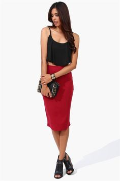 Electric Pencil Skirt in Burgundy
