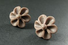 Powder Brown Flower Earrings with Silver Earring Studs. Outie Button Flower Jewelry. Handmade Jewelry. by StumblingOnSainthood from Stumbling On Sainthood. Find it now at http://ift.tt/1Yq1pwq!