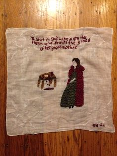 She who Drinks Blood, 2014, hand embroidery, by Annie Aube, www.annieaube.com