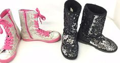 Lot of 2 Black Sequin Boots Size 2M The Children's Place Silver Pink Sequin #TheChildrensPlace #Boots
