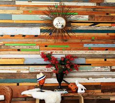 Multi-tonal: Sarah's salvaged wall, featured on Design Sponge, was done for $130 | Perfect Panels: 15 Styles of Wood Walls via apartmenttherapy