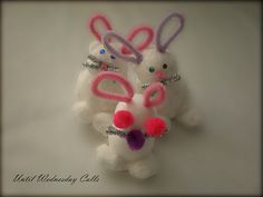 Cotton bud bunnies. Cotton buds and styrofoam balls. Last minute Easter crafty fun for kids.