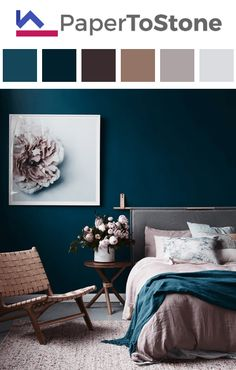 Bedroom color palette - black dark-sapphire-blue orange red tangelo