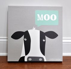 Moo Cow  Canvas Wall Art by VickyBaroneDesigns on Etsy, $69.00 - Great for a kid's rooms or nursery - Farm Animals