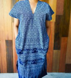 Items similar to Handmade Indigo Cotton Dress (elephant) on Etsy Get Fresh, Clothing Co, Cotton Dresses, Fit And Flare, Beautiful Dresses, Indigo, Elephant, Short Sleeve Dresses, Casual