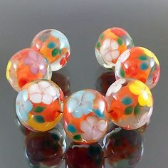 PIKALDA=handmade lampwork 7beads glass=ORANGE DREAM=SRA