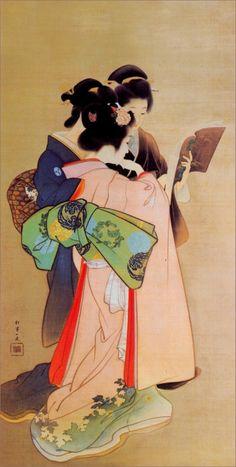 """Three Women Reading"" by Uemura Shōen - Uemura Shōen - pseudonym for the Japanese painter Uemura Tsune. Watercolor on silk Shōen is primarily known for her bijinga paintings of. Art Geisha, Art Asiatique, Ga In, Art Japonais, Korean Art, Japanese Painting, Japanese Prints, Japan Art, Japanese Culture"