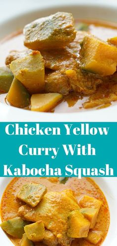 Quick and easy Thai chicken yellow curry with kabocha squash recipe. Only 6 ingredients you can make your pumpkin season delicious. Kabocha Squash Recipe, Coconut Meat Recipes, Curry Recipes, Yellow Curry Chicken, Thai Chicken, Pumpkin Recipes, Fall Recipes, Dinner Recipes, Kitchens