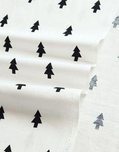 Scandinavian and Modern Style Black Tree Pattern Cotton Fabric -30s Cotton 100%…