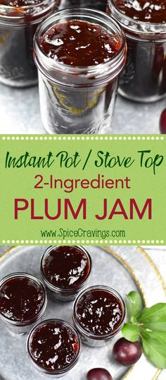 Plum Jam recipe is like capturing the fresh flavors of summer in a jar! Whether you make it in your Instant Pot or stove, fresh plums and sugar is all you need to make this pot of deliciousness. No pectin required! Plum Jelly Recipes, Fruit Recipes, Cherry Plum Recipes, Plum Recipes Healthy, Sweets Recipes, Drink Recipes, Yummy Recipes, Instant Pot, Recipes