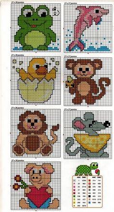 ENCANTOS EM PONTO CRUZ: Infantil Crochet Applique Patterns Free, Baby Cross Stitch Patterns, Cross Stitch For Kids, Mini Cross Stitch, Cross Stitch Cards, Cross Stitch Animals, Baby Knitting Patterns, Cross Stitch Designs, Cross Stitching