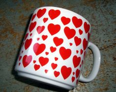 Vintage Mug, Hearts, Red & White,  Heart Mug, Heart Cup, Never Used, Original Box