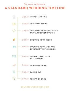 Great Ideas For Wedding TimelineAgenda Bobbie Jo Dobbs Let Me