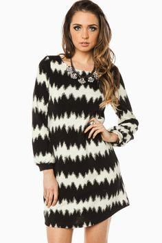 DeKay Shift Dress in White and Black / ShopSosie #black #white #bold #chevron #printed #classic #long #sleeve #shift #dress #shopsosie
