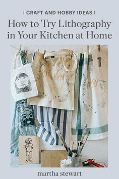 Using household ingredients, crafters can create buttons, bags, pillowcases, cards, and other custom artworks using the kitchen lithography print-making method. Laura Sofie Hantke and Lucas Grassman of Studio Lula from Germany share how they teach this craft for clear and high-quality prints at home. #marthastewart #crafts #diyideas #easycrafts #tutorials #hobby Make Your Own Buttons, Kitchen Containers, Old Picture Frames, Party Garland, Notebook Covers, French Artists, Paint Cans, Home Improvement Projects, Pillowcases
