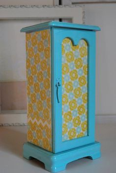 Refurbished Vintage Jewelry Box - Blue and Yellow. $35.00, via Etsy.