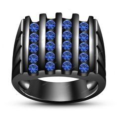 14K Black Gold Finish 925 Silver Round Blue Sapphire New Special Men's Band Ring…
