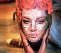 Muerte Woman tattoo by Michael Taguet