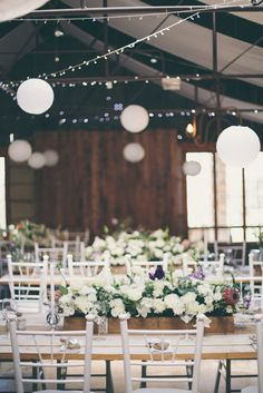 Barn wedding with fairy lights and paper lanterns. Grey White Farm Wedding, South Africa // Maryke Albertyn