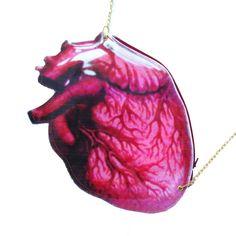 Realistic Human Heart Organ Anatomy Shaped Vinyl Cross Body Shoulder Bag | Handmade