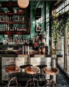 Design Restaurants • Interiors of restaurants and bars Cocktail Bar Interior, Wine Shop Interior, Bar Interior Design, Cafe Design, Restaurant Design, Restaurant Bar, Restaurant Interiors, Green Cafe, Cool Bars