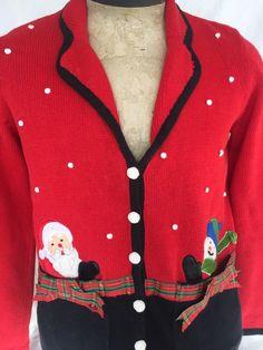 Ugly Tacky Sz S Christmas Sweater Red Santa Snowman Mercer Street #MercerStreetStudio #Cardigan