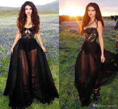 Selena Gomez Black Chiffon Lace Appliques Sweetheart A Line Flowy Celebrity  Dresses Sheer Long Evening Gowns 84593e76e