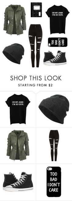 """""""School#2"""" by awesomegoldfish ❤ liked on Polyvore featuring Neff, Topshop and Converse"""
