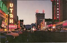 Salt Lake City in the It would be a cool idea to take shots like this of a location now and come back to it in a few years to see what's changed! Retro Signage, Slc Utah, Usa Cities, Neon Nights, Salt Lake City Utah, Night Photos, Old Ads, Lake View, Seattle Skyline