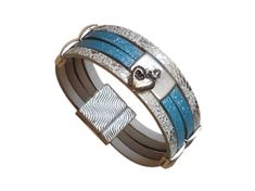 Bracelet cuir bleu blanc