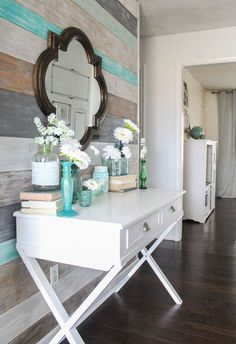 Painted wood wall and decorating with flowers
