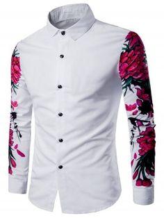 42c8e68ca7b 3D Flowers Print Long Sleeve Shirt Mens Shirts Online
