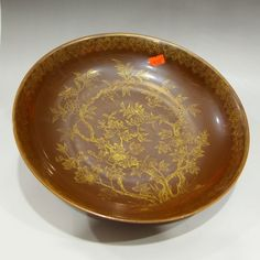 Chinese Gilt Gold Tea Dust Glaze Porcelain Plate