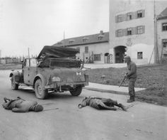 German S.S. General Ernst Fick and his driver shot dead by U.S. soldiers, 1945