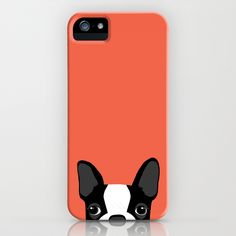 "If you know what a dog is, you know this peek. Anne Was Here's ""Boston Terrier"" iPhone case is available for several generations and Samsung Galaxy at Society6."