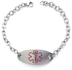 Max Petals - Eliquis Medical Alert ID Stainless Steel Identification Bracelet with 225mm Chain >>> Click on the image for additional details. #Bracelets