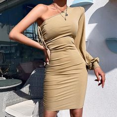 Casual Pure Color One Shoulder Bodycon Dress – streetstylepop Bodycon Dress Formal, Formal Dresses, Types Of Sleeves, Sleeve Styles, One Shoulder, Pure Products, Long Sleeve, Casual, Skirts