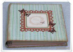 Fotoalbum Buchdeckel aus bezogener Graupappe - Seiten als Taschen gearbeitet