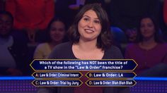 """Monday, an all-new week of #MillionaireTV begins. But is there #LawandOrder for contestant Melissa Caminneci? Does she need it to give the correct #FinalAnswer to this question? Don't miss Monday's all-new """"Millionaire"""" with host Chris Harrison. Go to www.millionairetv.com for time and channel to watch."""