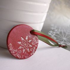 christmas ornaments (air dry clay, stamps, paint, rub-on metallic)