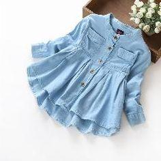 [ $21 OFF ] Bk-465, 6Pcs/lot, Autumn Children Girls Denim Shirts , Long Sleeve Big Ruffles Dress Shirts