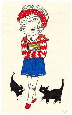 Sad girl and cats