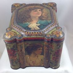 BEAUTIFUL VICTORIAN WOMEN  LARGE BRITISH MUSTARD TIN c1890