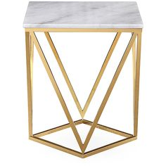TOV Furniture Leopold Marble-Surface Side Table (325 CAD) ❤ liked on Polyvore featuring home, furniture, tables, accent tables, marble accent table, geometric side table, marble lamp table, polish furniture and marble end tables